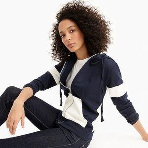 J crew color block zip up hoodie XS NWT